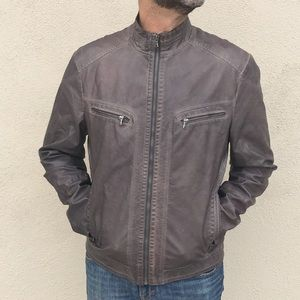 7a3e7e709 KENNETH COLE Mens FAUX leather jacket moto brown L